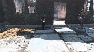 Schreien in Position 69 und Blowjob für einen schwarzen Mann von einem Küken in roten Strümpfen in Fallout 4