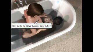Mama wichste den Schwanz ihres Sohnes und fickte ihn im Badezimmer
