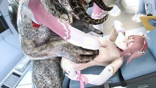 Gehörnter Dämon in Waage fickt eine junge Japanerin vor einem Arzt in einem Krankenhaus