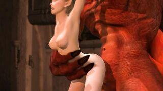 Dragon machte Elf Cooney und steckte einen langen Schwanz in ihre Fotze