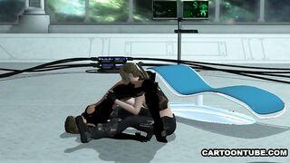 Lesbische Küken mit Kuni und Reiben einer Muschi in einer Scherenpose auf einem Raumschiff