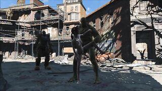 Grüne Monster vergewaltigt mit Doppelpenetration der Heldin von Fallout 4